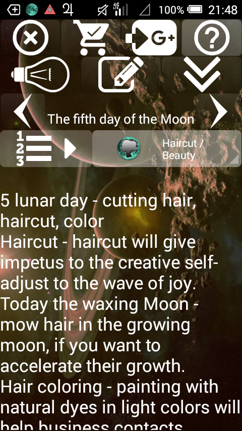 Lunar Calendar. Haircut,Beauty- screenshot