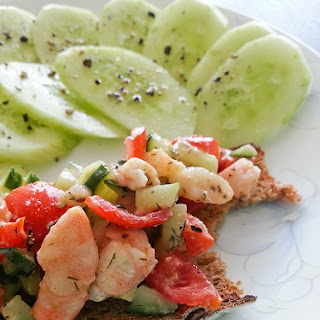 Dilled Shrimp and Tomato Toasts with Cucumber