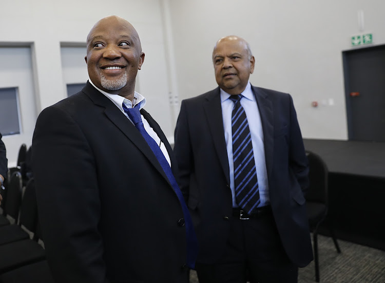 Former deputy finance minister Mcebisi Jonas and former finance minister Pravin Gordhan at the Zondo commission into state capture on Friday.