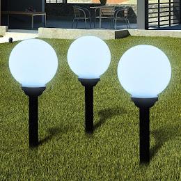 Set 3 x lampa solara cu senzor crepuscular, 37 cm, diametru 15 cm