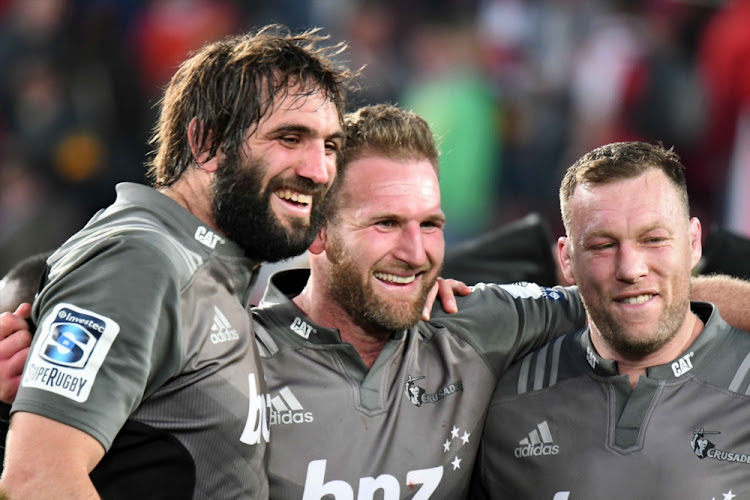 Sam Whitelock, Kieran Read of Crusaders during the Super Rugby Final match between Emirates Lions and Crusaders at Emirates Airline Park in Johannesburg, South Africa.