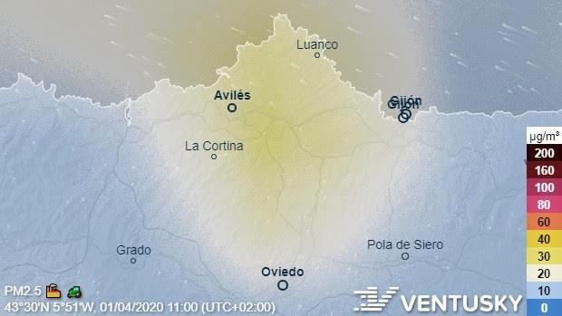 calidad de aire por Ventusky