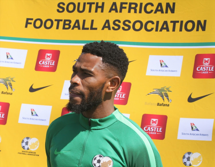 Bidvest Wits defender and captain Thulani Hlatshwayo speaks to the media after the Bafana Bafana training session at Princess Magogo Stadium in Durban September 04, 2018.