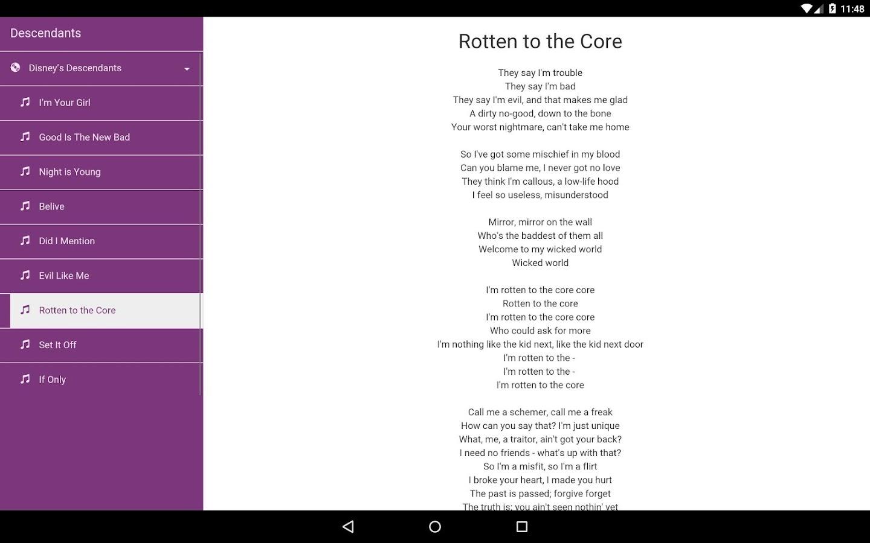 Descendants Lyrics - Android Apps on Google Play