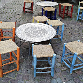 Free Stools by John Noone - City,  Street & Park  Street Scenes ( urban exploration, urban, city, street, colored, stools, street photography, street scenes )