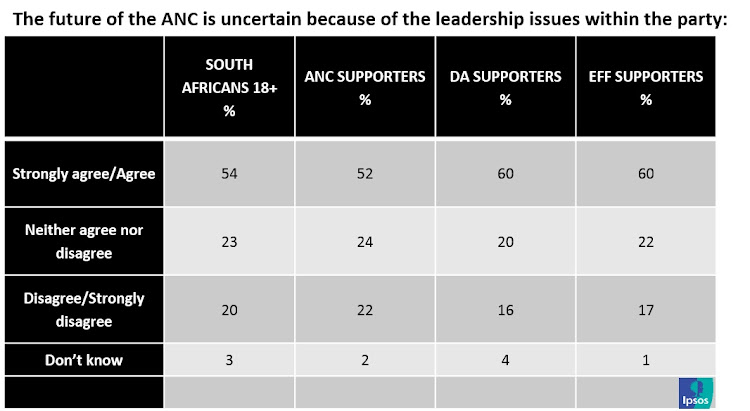 Findings of the Ipsos's Pulse of the People poll. More than half of South Africans (54%) believe the future of the ANC is murky due to leadership issues and rifts in the ruling party. Graphic: IPSOS