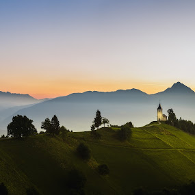 Morning mood by Andrej Folo - Landscapes Mountains & Hills ( slovenia, sunrise, mountains, green, color, church, panoramic, mist, colors, morning, orange, jamnik, hill, panorama, photography, landscape,  )