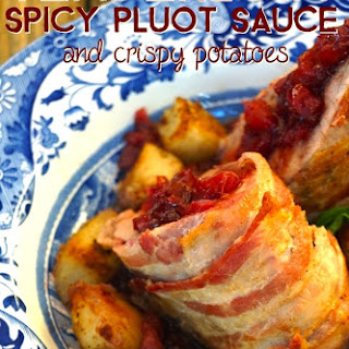 Bacon Wrapped Pork Tenderloin with Spicy Pluot Sauce and Crispy Potatoes Recipe