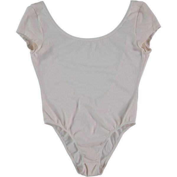 Short Sleeve Bathing Suit Open Back Off-White
