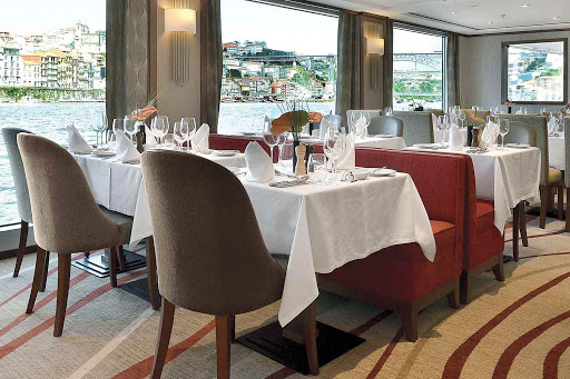 Enjoy local cuisine prepared by expert chefs in the complimentary restaurant aboard AmaDouro.