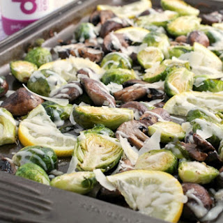 Garlic Parmesan Roasted Brussels Sprouts & Mushrooms