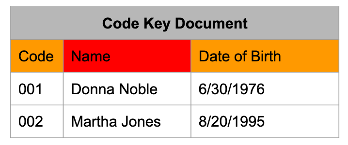 Shows a code key document. It is a spreadsheet that has three columns. From left to right: code, name, date of birth.