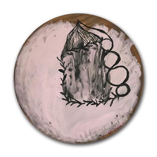 tu-dors-deja-flottement-sophie-lormeau-artiste-peintre-femme-art-contemporain-singulier-figuratif-dessin-drawing-tableau-abstrait-feerique-tondo-rond-cercle-amoureux-lovers-chambre-amour-noir-rose-baiser-amis-artistes-adagp-paris-2020-OMBRE-©