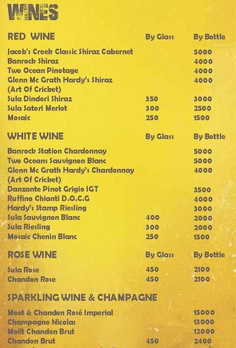 The Stadium Bar menu 3