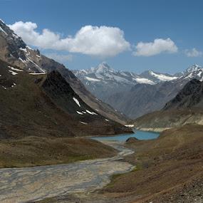 Glacial Lake - Suraj Tal by Rohit Chawla - Landscapes Mountains & Hills ( glacial lake, cosurvivor, ladakh, landscape, suraj tal, himalayas, golden lands, manali leh highway )