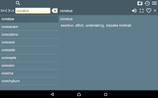 Screenshot of English Latin Dictionary