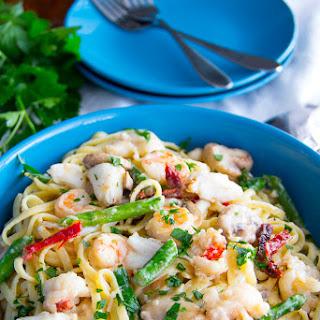 Overboard Seafood Linguine Alfredo.