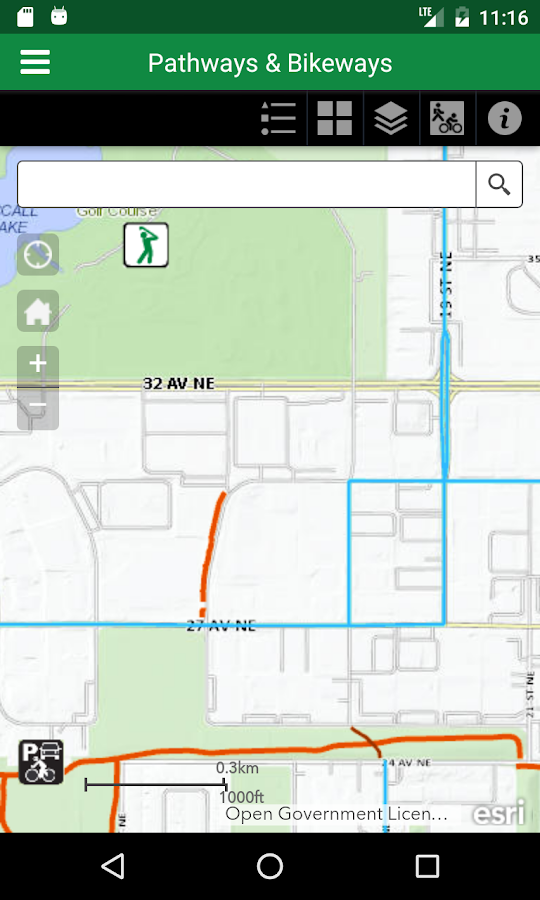 City of Calgary Bikeways & Pathways- screenshot