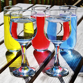 Glass and colour by Peter Salmon - Artistic Objects Glass ( contrast, clear, colour, water, glass )
