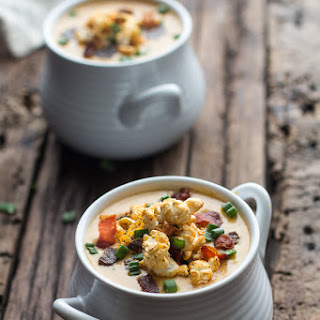 Cheddar Ale Soup with Chili Cheese Popcorn.