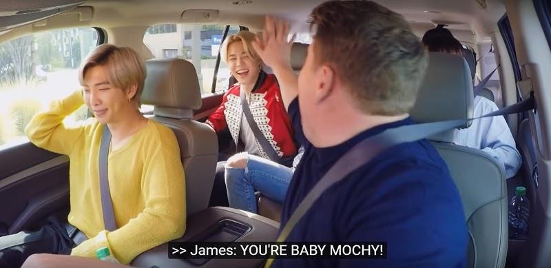 "Baby mochi and Papa mochi in  ""Carpool Karaoke with BTS"""