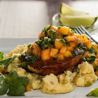 Grilled Pork Chops Over Hatch Green Chile Polenta