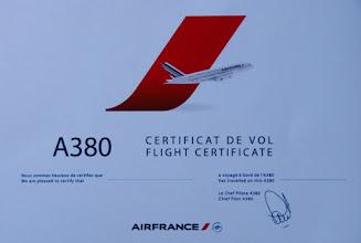 Photo: Certificat de vol remis à l'arrivée