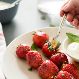 Roasted Strawberries with Mint-Maple Syrup.
