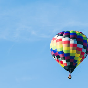 Hot Air Balloon by Carol Henson - Transportation Other ( 2017, hot air balloon, northampton, blue sky, race course, summer, july, town festival, balloon )