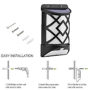 Set 2 x Lampa solara cu senzor miscare cu efect flacara