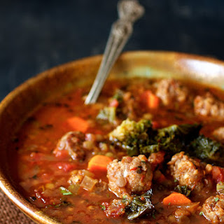 Sausage and Lentil Soup with Kale Sprouts.