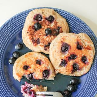 Oatmeal Blueberry Yogurt Pancakes (gluten free, high protein!).