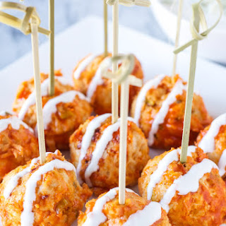 Buffalo Chicken and Blue Cheese Stuffed Meatballs.