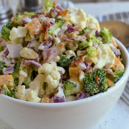 This Delectable Spring And Summer Broccoli Cauliflower Salad Comes Together In About Twenty Minutes Making It The Perfect Side Dish For All Your Grilling And Barbecue Recipes.