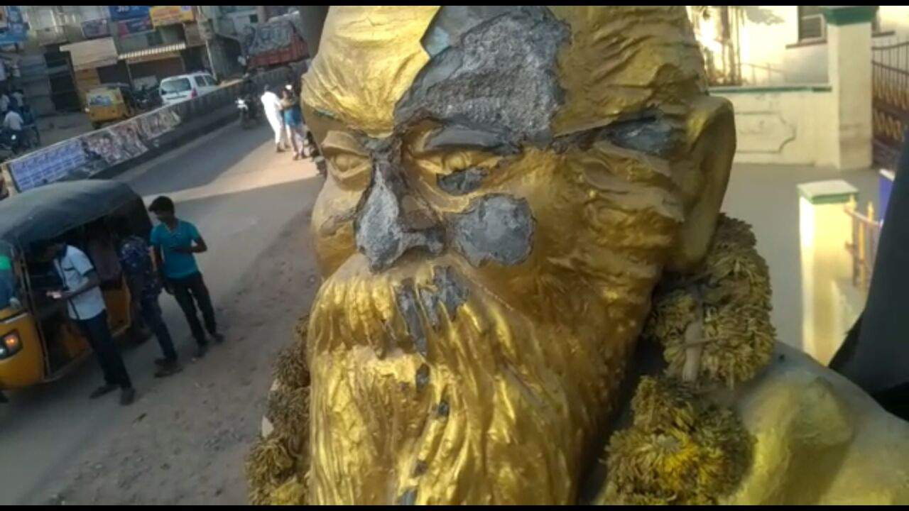 Image result for periyar statue vandalised by bjp