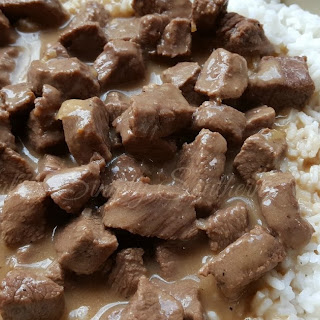 Stewed Beef Tips and Rice.