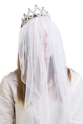 Tiara med slöja, vit