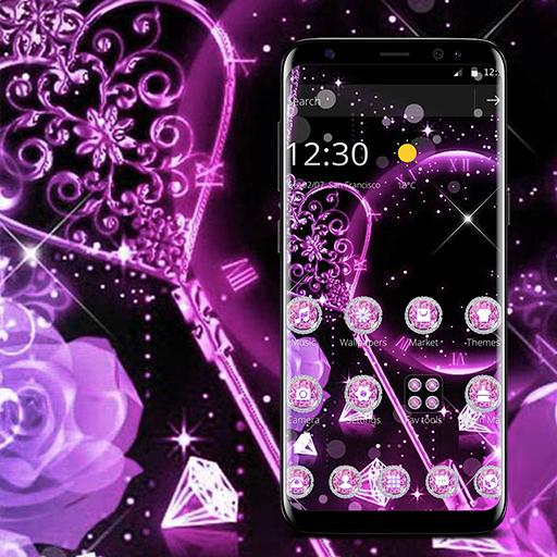 Pink Black Sparkling Diamond Theme file APK Free for PC, smart TV Download