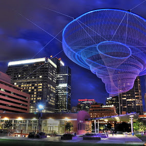 Jellyfish by Stephen Botel - City,  Street & Park  Street Scenes ( clouds, highrise, sculpture, skyline, hdr, night photography, park, skyscrapers, cityscape )