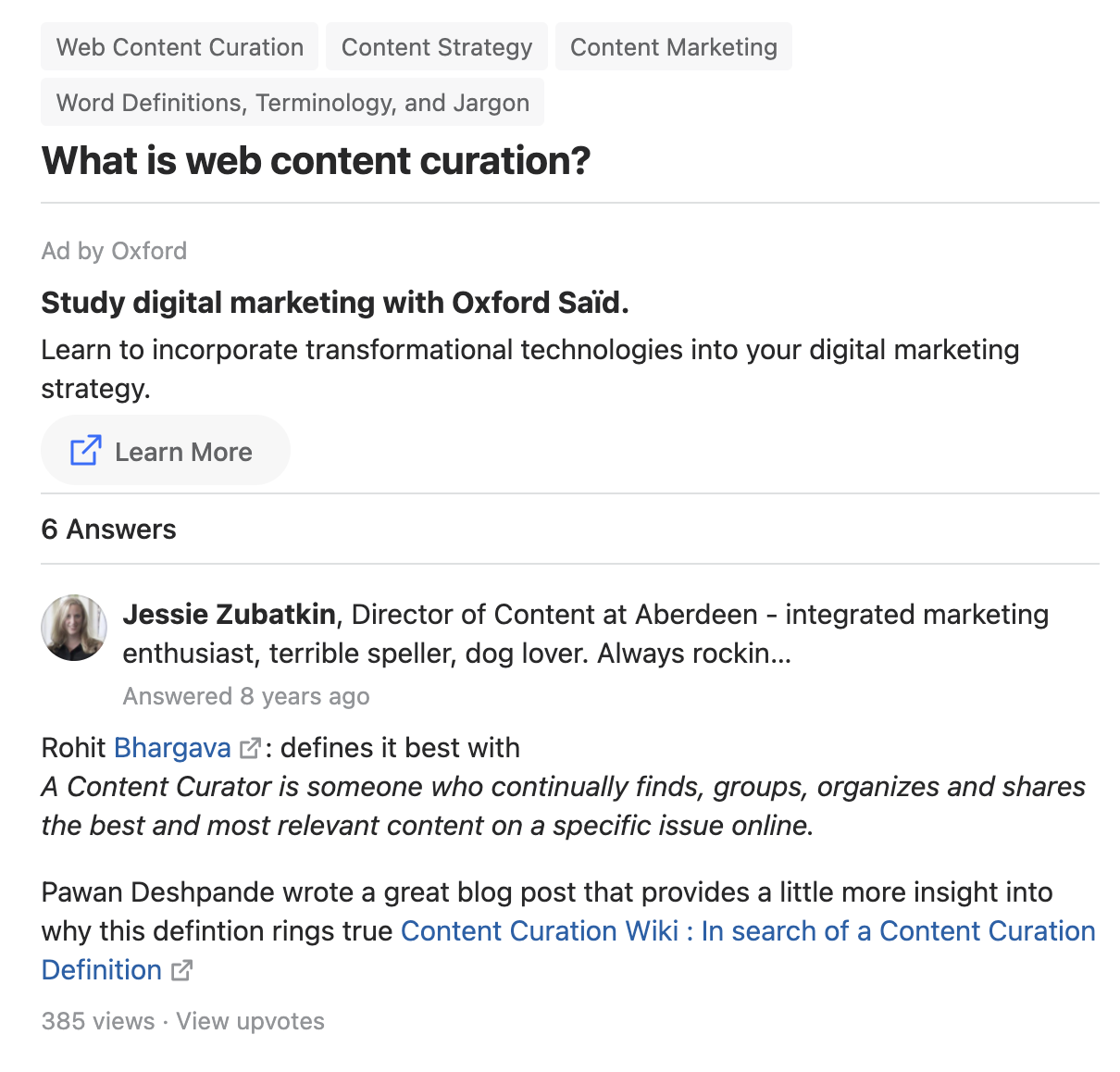 Screenshot of a Quora question answered, and then linking to a blog post for more detail.