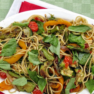 Roasted Veggie Spaghetti with Balsamic & Basil