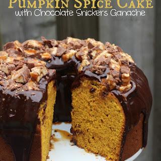 Pumpkin Spice Cake with Chocolate Snickers Ganache