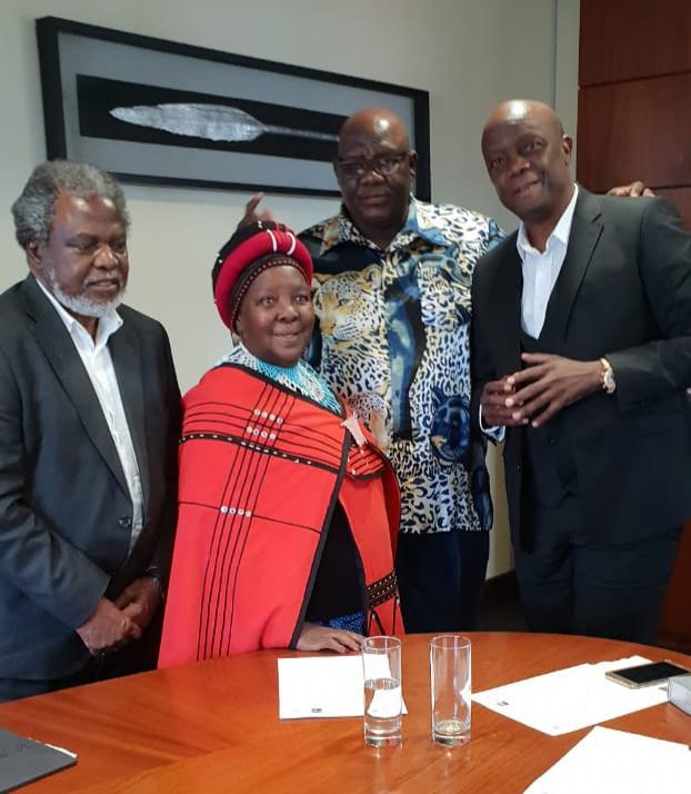 From left: Prof. Muxe Nkondo, Mam' Notsikelelo Biko, Chaiperson of NHC Dr Thulani Mbuli and CEO of NHC Adv. Sonwabile Mancotywa when Biko was being honoured for her role in community activism on September 20 2018