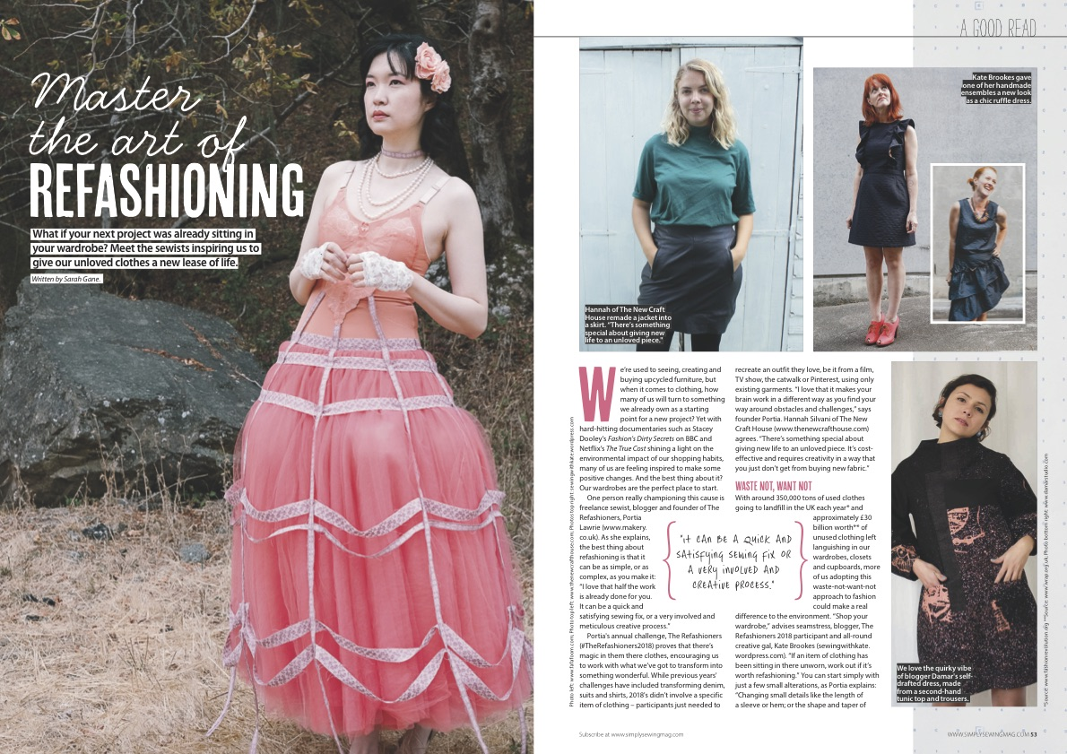 FAFAFOOM featured in Simply Sewing Magazine - Art of Refashioning