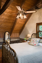 Photo: Interior, vertical, upper level guest bedroom, Giles residence, Dandridge, Tennessee; Hearthstone Homes