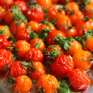 Roasted Cherry Tomatoes with Basil and Garlic.