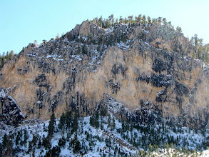 Photo: Peak with trees and bare rocks