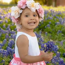 London by Marie Burns - Babies & Children Toddlers ( flowers, london, texas, girl, bluebonnets )