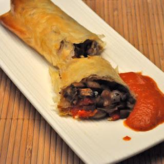 Mushroom Strudel with Pesto Tomato Sauce