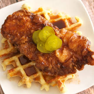 Hot Chicken and Jalapeño Bacon Cheddar Waffle.